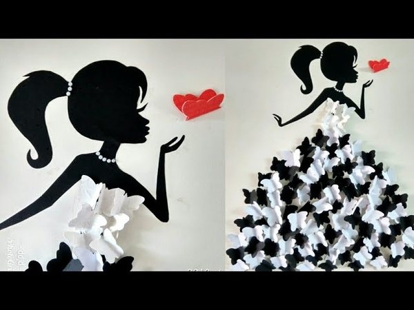 DIY Room Decor Ideas Making Girl with butterfly dress Wall decor with butterfly Butterfly girl