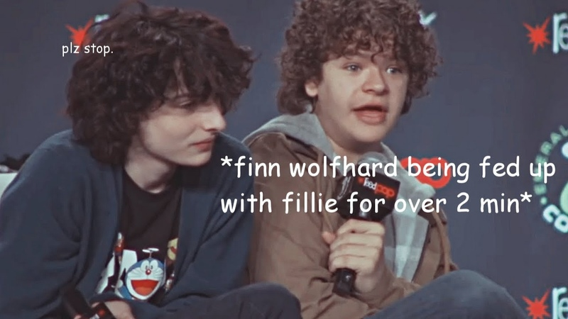 Finn wolfhard being fed up with fillie for over 2 minutes.