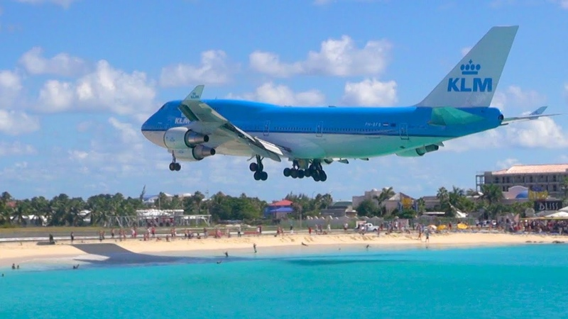 Sint Maarten Boeing 747 Landing from Sonesta Maho Beach Patio