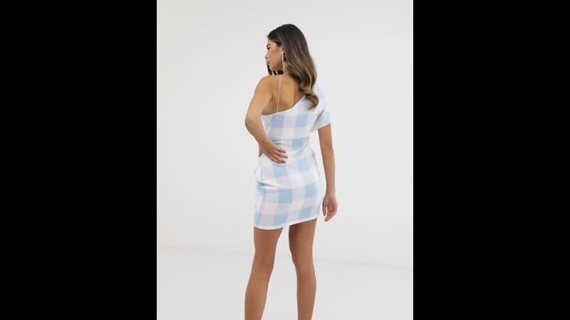 Платье мини в клетку на одно плечо ASOS