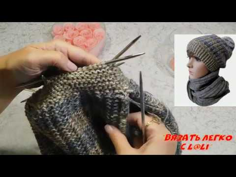 Вяжем объемную шапку платочной вязкой с накидом. Подробный мастер класс по вязанию шапки