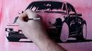 Porsche, peinture à la gouache. Porsche, gouache painting by Bulgac Iurie