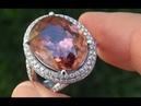 GIA CERTIFIED Natural VVS1 Pink Zircon & Diamond 14k White Gold Vintage Ring - A141475
