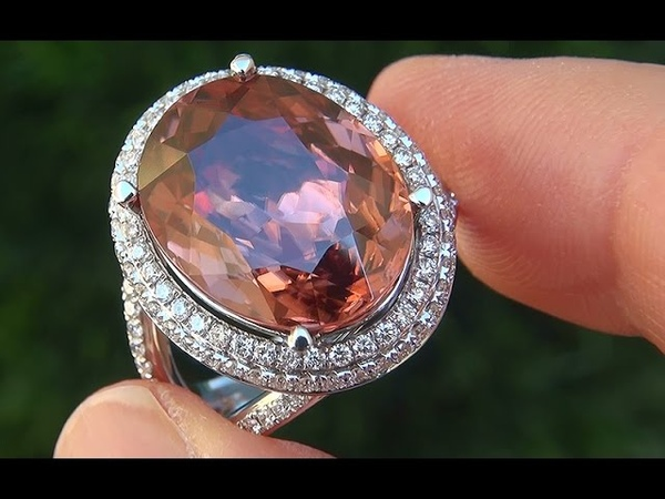 GIA CERTIFIED Natural VVS1 Pink Zircon Diamond 14k White Gold Vintage Ring - A141475