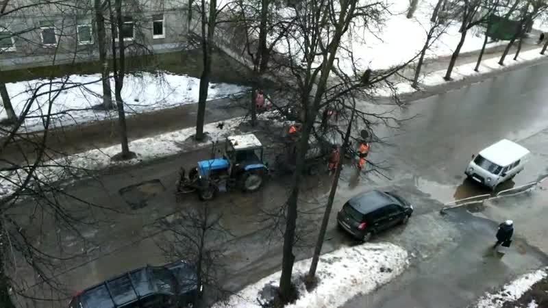 Февральский ремонт дорог в р-не больничного городка