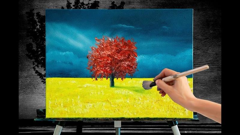 Дерево жизни живопись маслом пейзаж tree of life painting tutorial