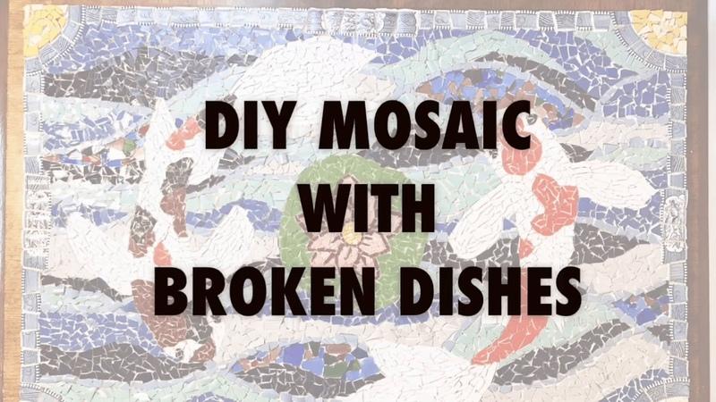 DIY Mosaic With Broken Dishes - Koi Pond