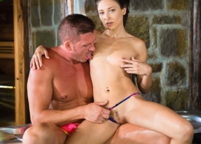 Cheating husband risky hot tub fuck