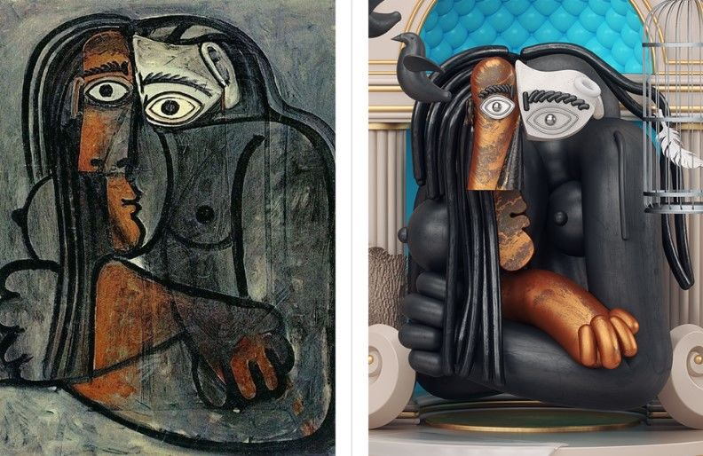 произведения Пабло Пикассо в трёхмерных иллюстрациях