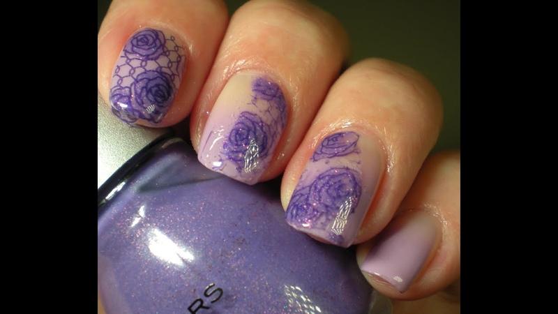 Happy Birthday Just nailed It (Sheree) Purple Mani ~ Floral Mani ~ Gradient ~ DIY Decal Mani