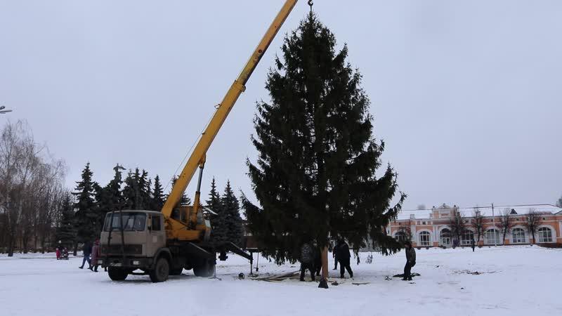 Установка новогодней ели на площади 1000 летия Трубчевска