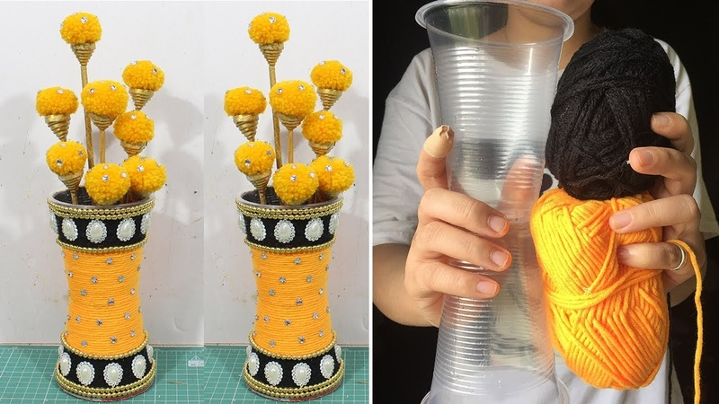 How to make flower vase with Plastic Glass | Recycled crafts Innovative ideas