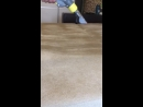 Нанисение моющего раствора на диван.