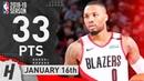 Damian Lillard Full Highlights Blazers vs Cavaliers 2019.01.16 - 33 Pts, 6 Ast, NASTY