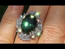 GIA Certified UNHEATED VVS1 Natural Green Sapphire Diamond 14k Cocktail Engagement Ring - A131370a