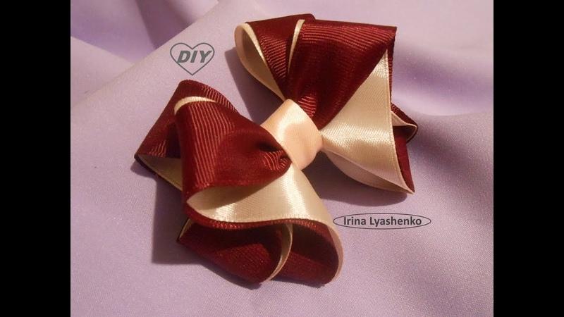 Бант для школы 2,5см МК/ Bow of ribbon 2,5cm DIY/PAP Laço da fita 2,5cm Tutorial 131