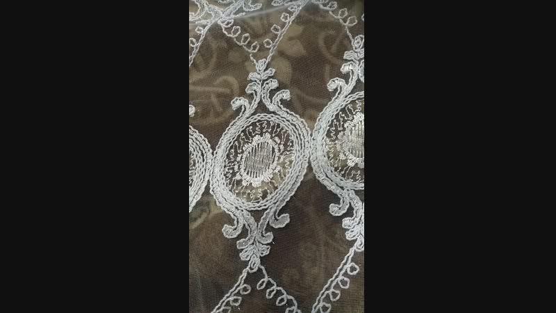 микросетка с кордовой вышивкой цвет белоснежный.В наличии.
