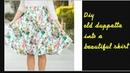 Diy old duppatta,saree into a skirt 5 min hindi