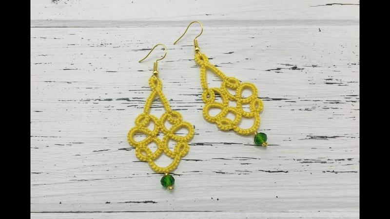 Needle tatting Yellow earrings with a crystal bead Фриволите иглой Желтые серьги с бусиной