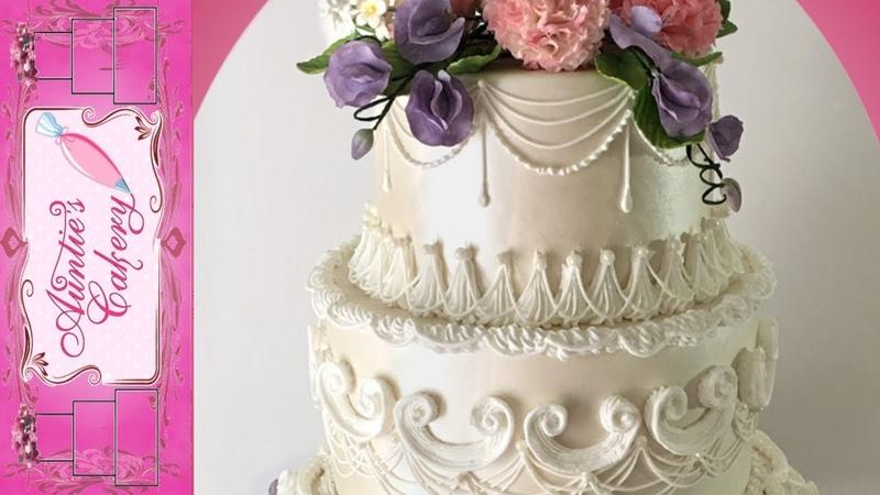 Spring Floral Wedding Cake Long tutorial- Lambeth style