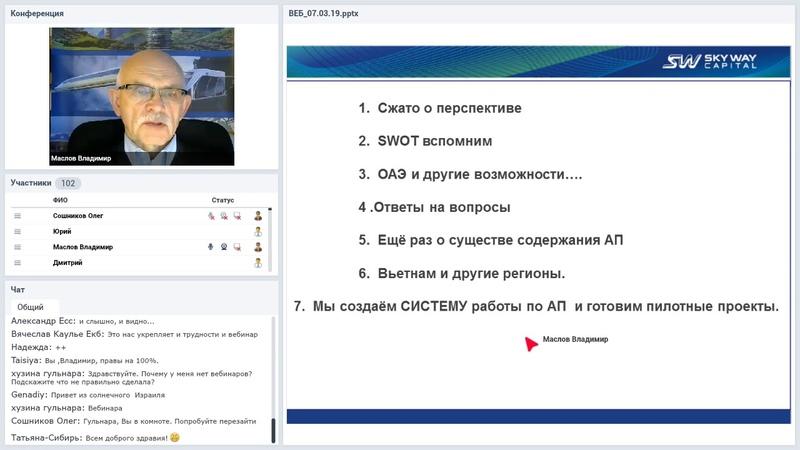 Вебинар от 07.03.2019. Организационно-экономический и правовой вебинар SkyWay.