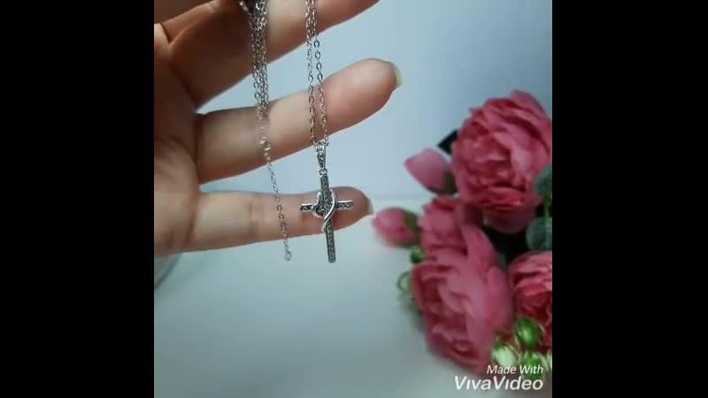 Винтажный крест с фианитами серебро 925 пробы родирование белое золото 18К Крест дл 16 9см Цепочка дл 45см Цена 1300р