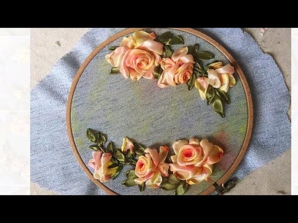 D.I.Y Ribbon Embroidery Rosas with acrylic Color Hướng dẫn thêu ruy băng hoa hồng tô loang màu