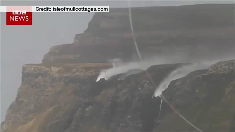 Waterfall blown backwards by Storm Henry Isle of Mull Scotland