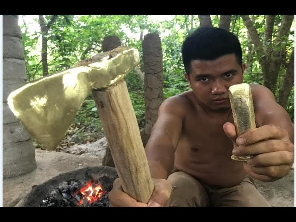 Primitive Technology Furnace and casting copper axe beautiful (ax, chisel)