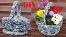 DIY Aus einem alten Geschenkkorb wird ein wunderschöner Steinblumentopf Beautiful Stone Flower pot