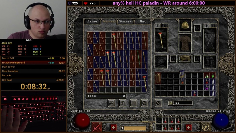 Diablo II - Any% Hell HC Paladin 5:54:58 (Current World Record)