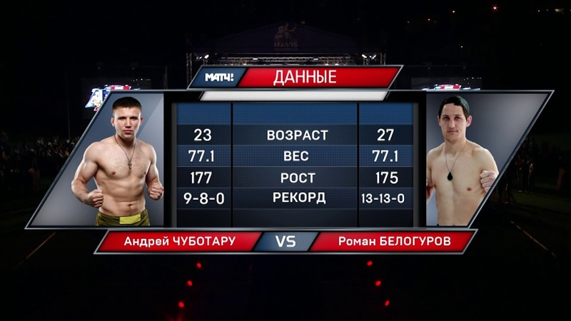 Андрей Чуботару победил Романа Белогурова удушающим приемом (полусредний вес, до 77,1кг)