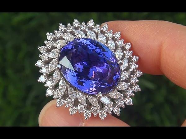 GIA CERTIFIED Estate 20.45 ct FLAWLESS Tanzanite Diamond 14k White Gold Vintage Ring - A131647