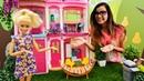 Barbie bahçesini dekore ediyor Kız oyunu