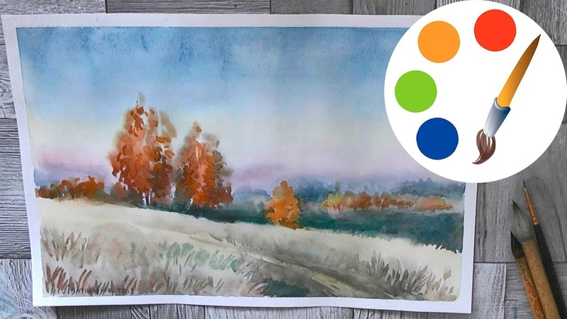 Watercolor painting, autumn birches, speed painting