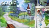 Acrylic Painting- A Beautiful House Landscape step by step