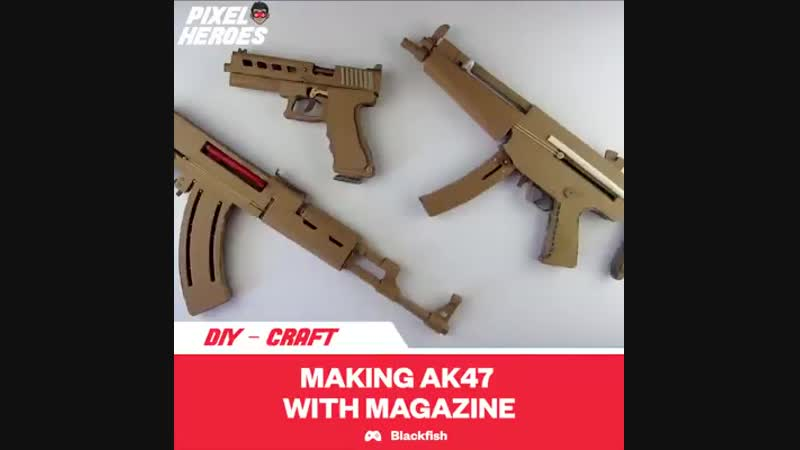 How To Make Cardboard AK47 That Sh00ts - With Magazine - practical item