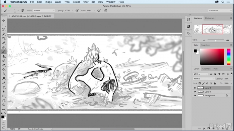 Lynda - Comic Book Digital Inking and Refinement - 04_01-A look at Photoshop brushes