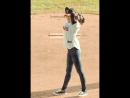 TWICE Jeongyeon throwing first pitch