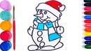 Glitter Snowman coloring and drawing for Kids, Toddlers | Art Colors