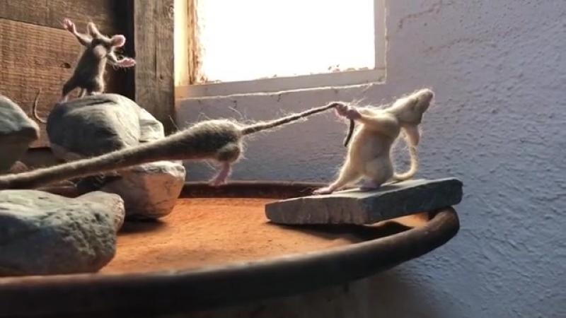 Валяные мышки-коротышки