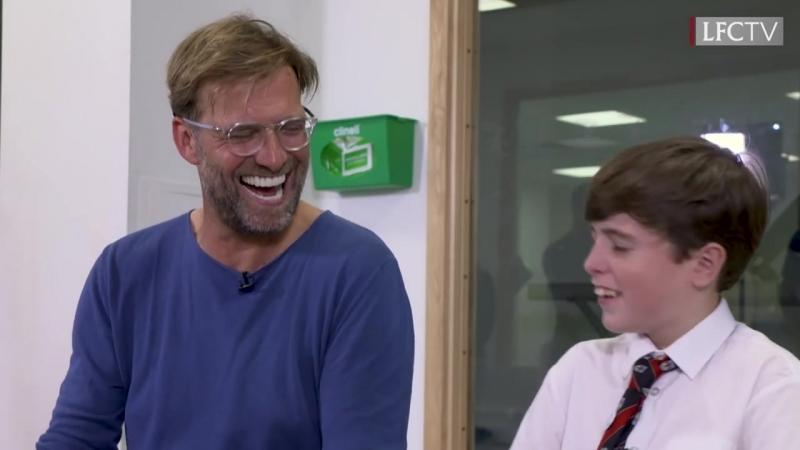 Klopp meets a young Everton fan at Alder Hey children's hospital