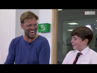 Klopp meets a young Everton fan at Alder Hey children's hospital