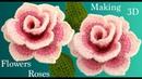 Como hacer flores rosas de colores en 3D con hojas a Crochet en punto tunecino