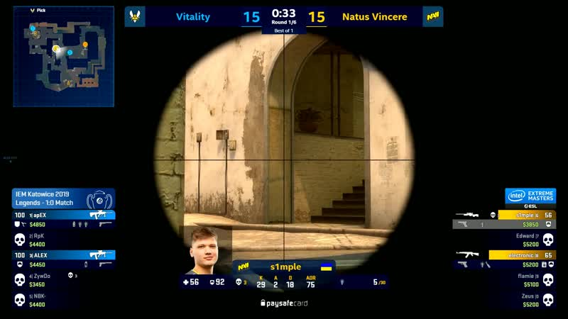 NaVi. Mirage. s1mple 4k vs Vitality IEM Major Katowice 2019 Legend Stage