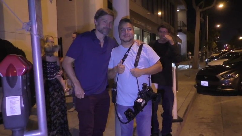 Nikolaj Coster Waldau signs autographs and poses for photos with fans outside Craigs in West Hollywo