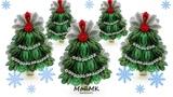 Новогодняя елочка на зажиме из лент МК DIY Christmas Tree Hairclip МойМК