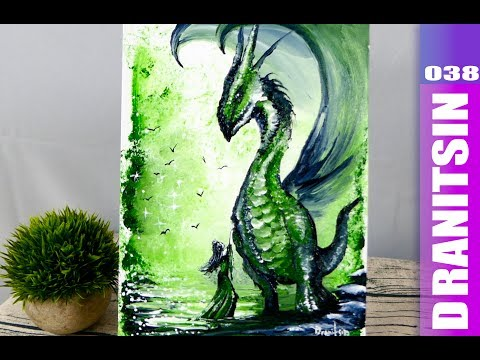 Non-Traditional Painting Techniques | Plastic Bag | Squeeze Bottle | Abstract | Green Dragon | 038