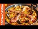 Paella Mixta de Marisco y Pollo. Receta fácil casera