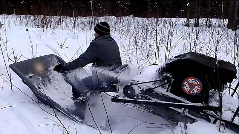 Рубилово на мототолкаче Ураган, снегоходах Рысь и Буран по камышам и глубокому снегу.